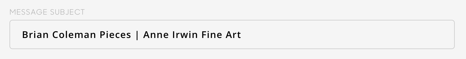 gallery name in subject line of artcloud message