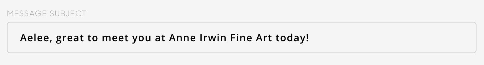 subject line in artcloud message