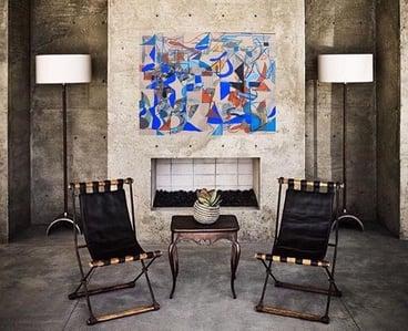 virtual installation of artwork in living room