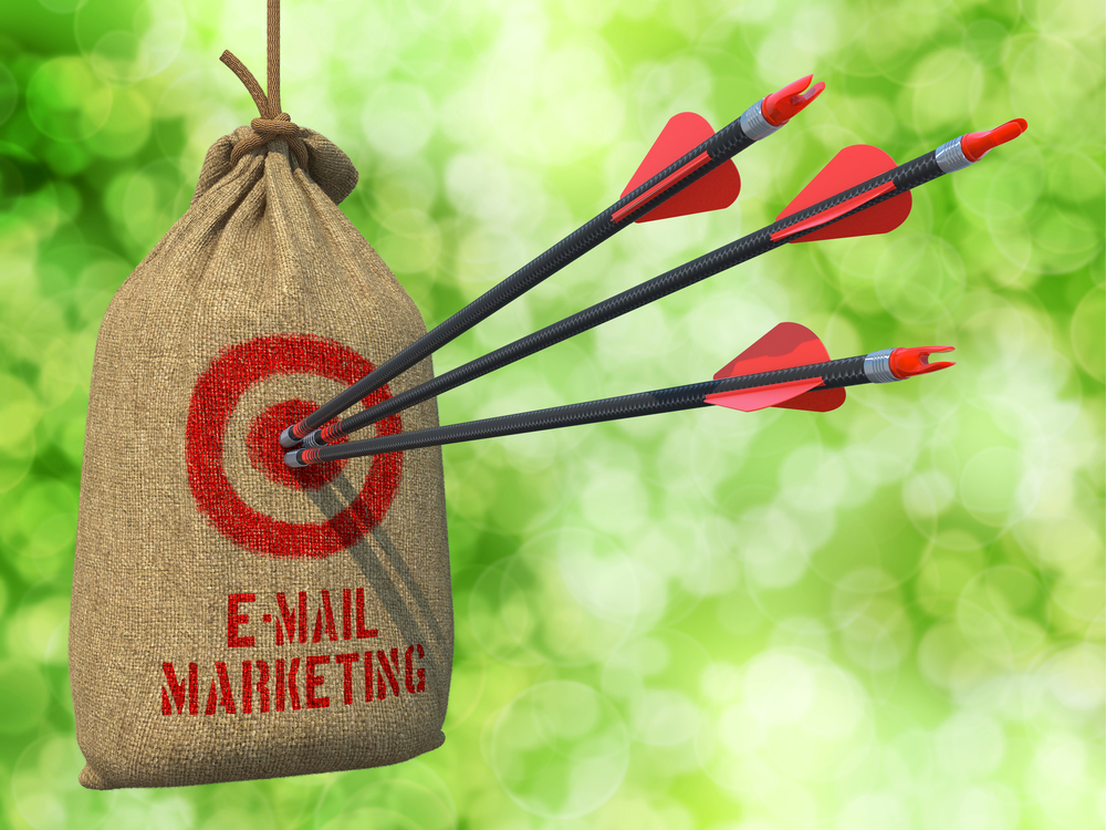E-mail Marketing - Three Arrows Hit in Red Target on a Hanging Sack on Natural Bokeh Background.