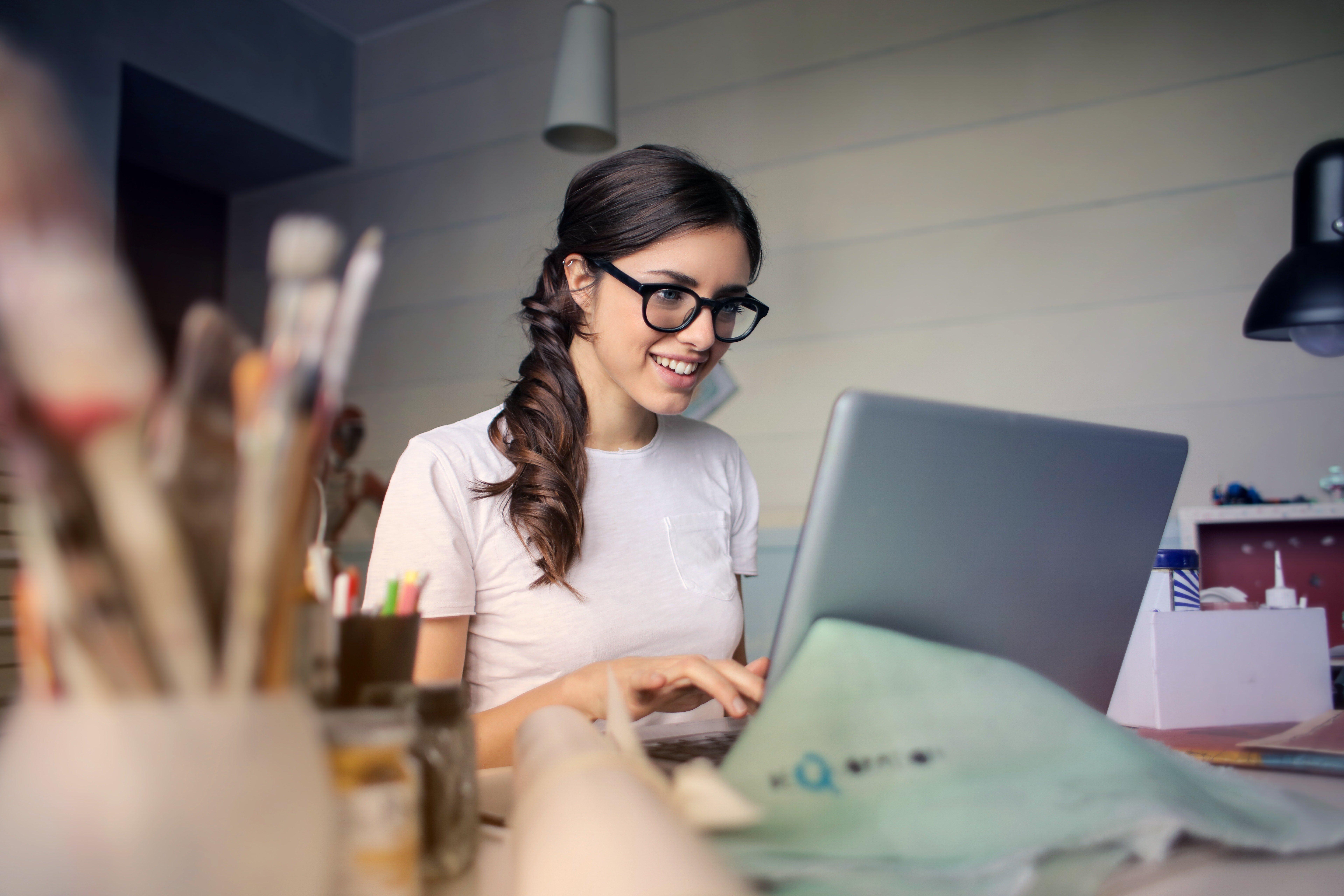 Woman working on computer
